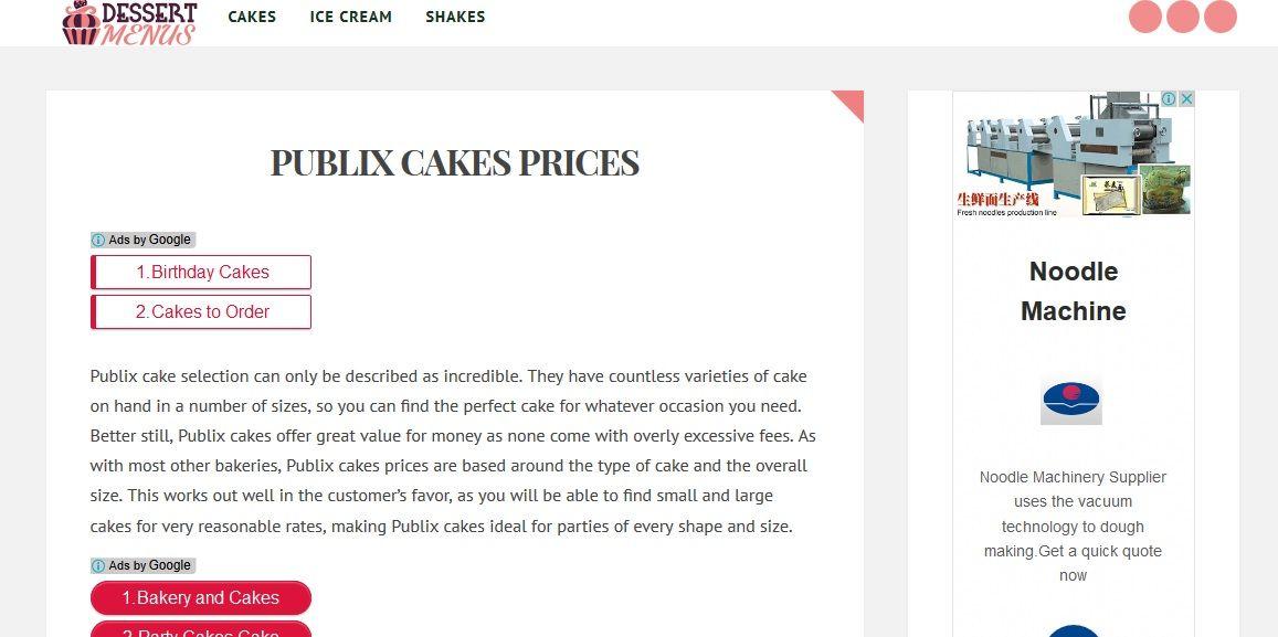 publix ice cream cake prices