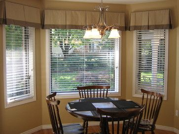 Valances For Kitchen Bay Windows Blindlady S Houzz Traditional Curtains Toronto Dining Room Window Treatments Bay Window Living Room Kitchen Bay Window