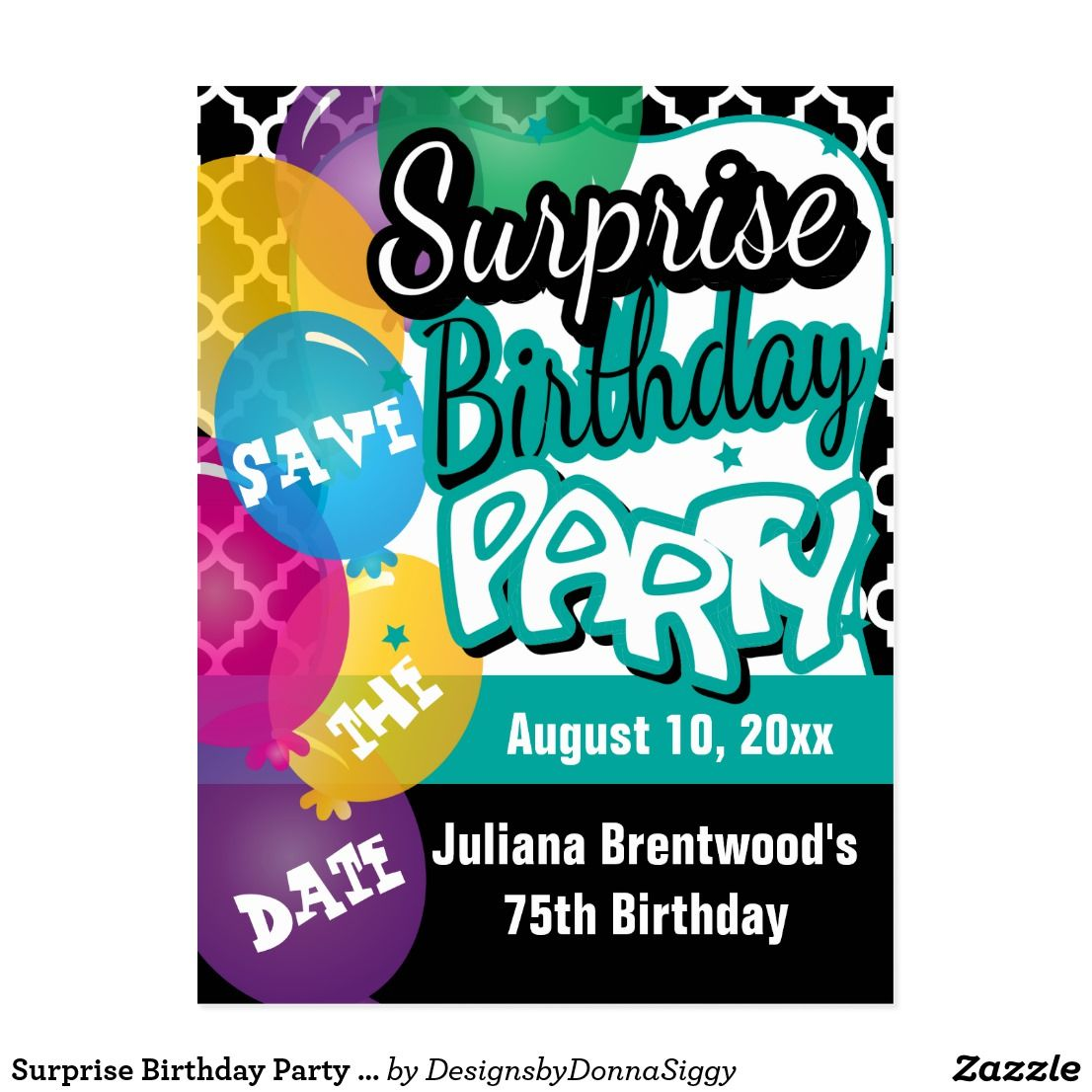 surprise birthday party in teal save the date announcement