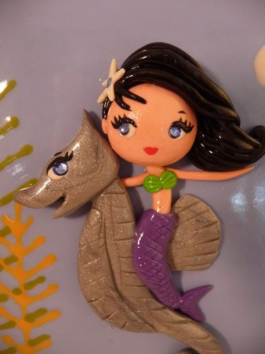 OOAK Vintage Inspired Polymer Clay Fantasy Mermaid w Seahorse Wall Tile Plaque | eBay