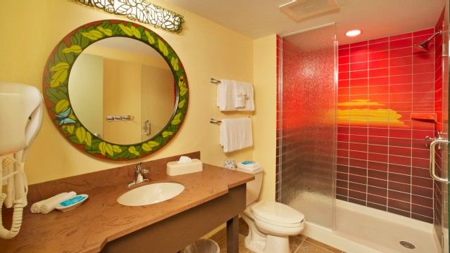 Probably the coolest hotel shower ever. Disney's Art of Animation Resort, Lion King Family Suites.