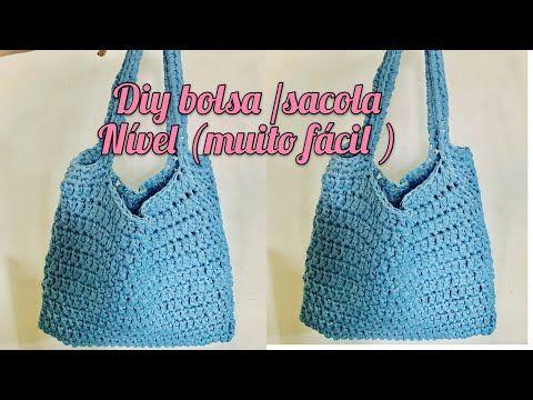 #BOLSA / SACOLA DE #CROCHÊ FEITA COM #FIO DE MALHA super fácil
