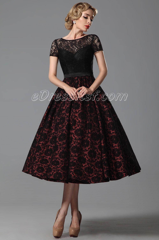 d34143fd45c 2015 New Vintage Short Lace Sleeves Tea Length Cocktail Dress Party Dress