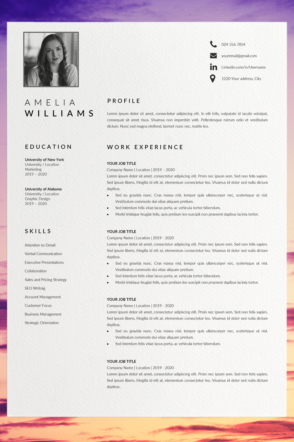 Modern Resume Template Word Cv Format Template Word Unique