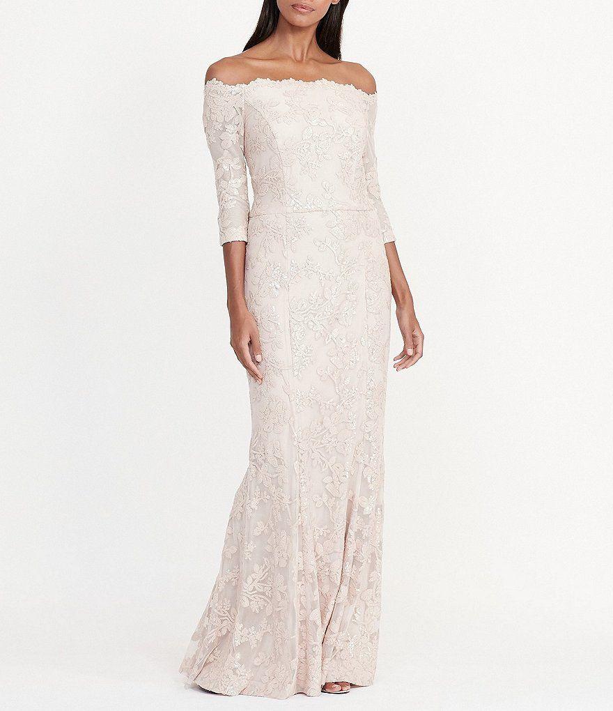 Lauren Ralph Lauren Sequined Floral Lace Off-the-Shoulder Gown ...