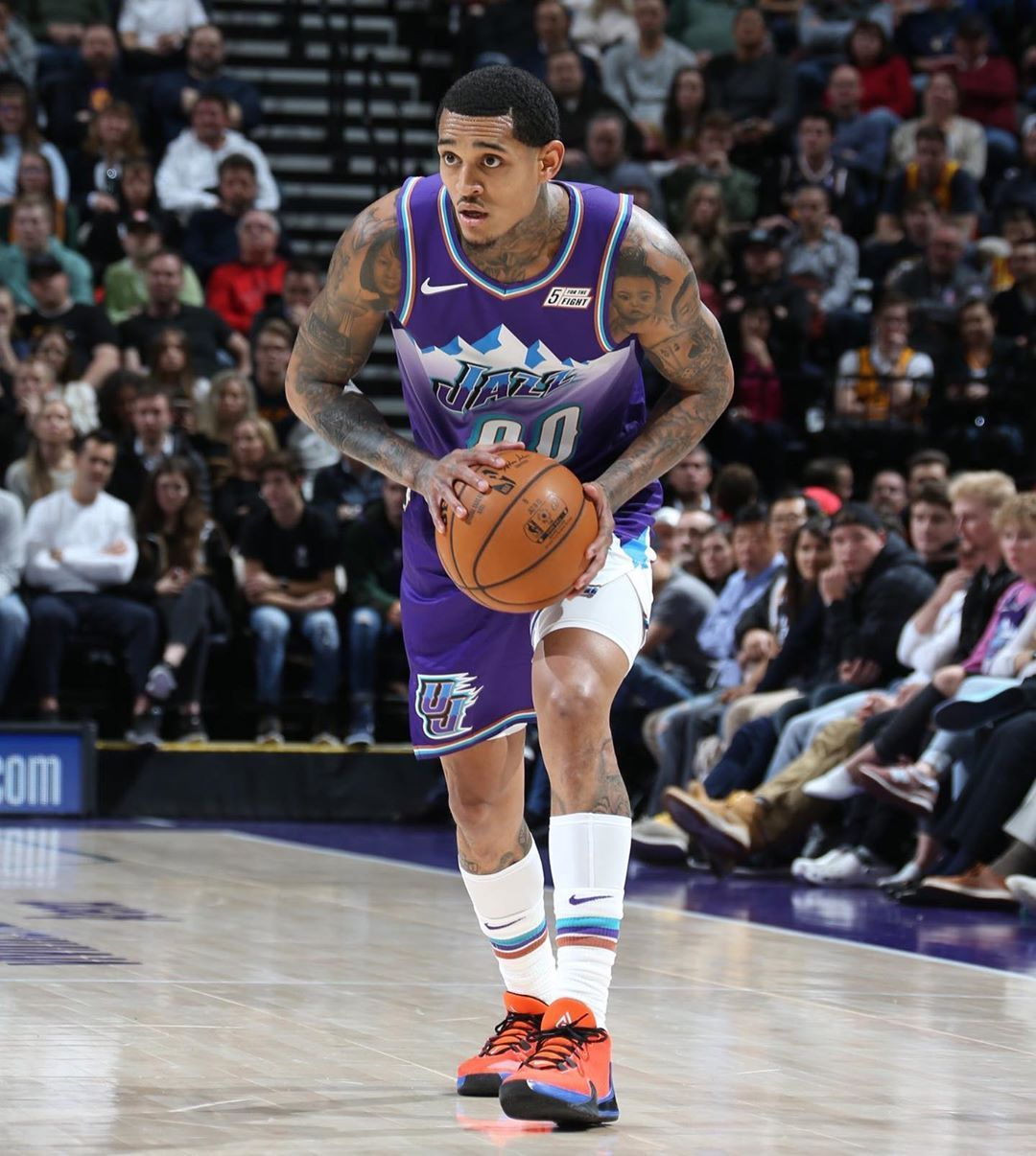 Kicks On Court On Instagram Nike Zoom Freak 1 Pe Jordanclarksons Kicksoncourt In 2020 Jordan Clarkson Utah Jazz Jazz Basketball