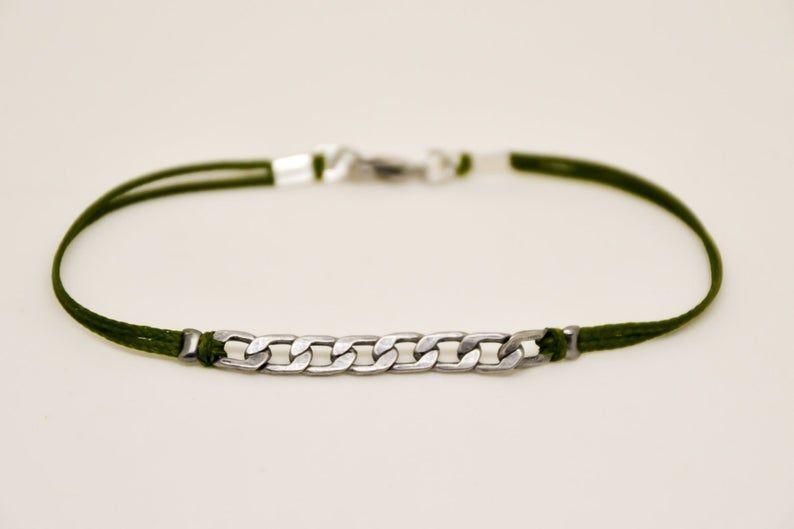 Bracelet For Men Silver Flat Link Chain With A Green Cord Etsy Bracelets For Men Mens Jewelry Mens Bracelet