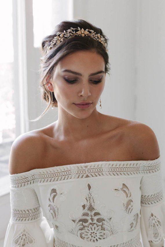 ROSEBURY   beaded crystal wedding crown, gold wedding crowns, bridal headpiece, gold tiara