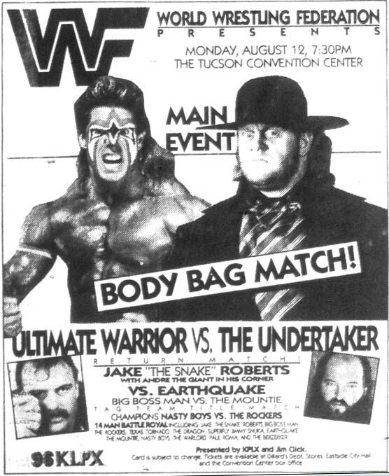WWF Promotion Flyer (The Undertaker vs. The Ultimate ...