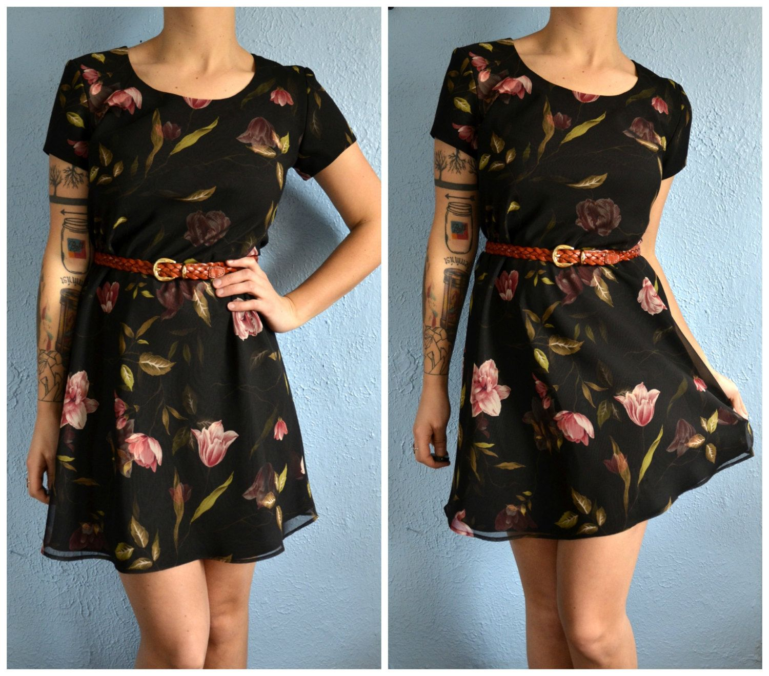vintage floral print hipster party formal dress hipster