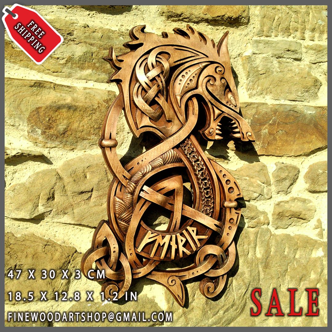 Fenrir Wolf Odin Vikings Decor Norse Art Thor Ethnic Wood Carving ...