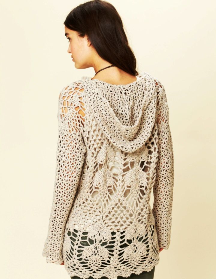 Crochet tunic PATTERN – hoodie by Free People | crocheted tops ...
