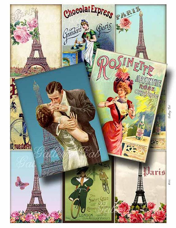 PARIS ROMANCE Digital Collage Sheet Instant Download by GalleryCat
