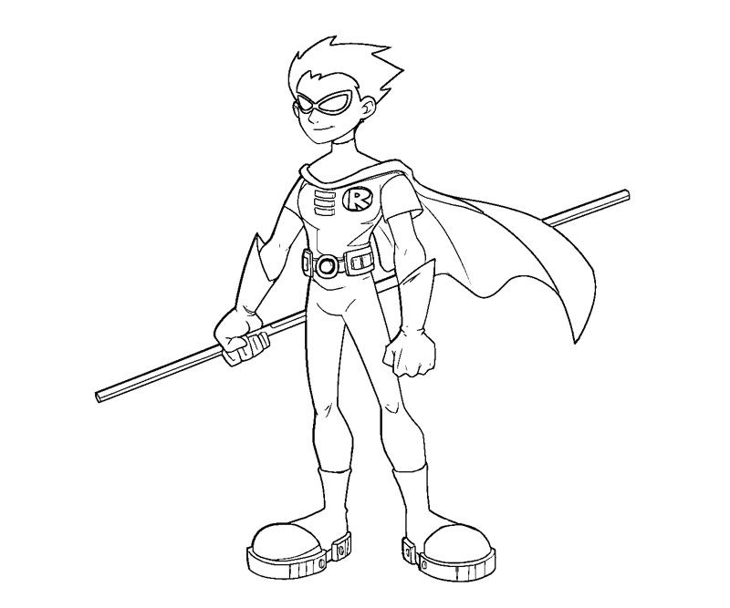 Printable Teen Titans Robin 4 Coloring Page kids