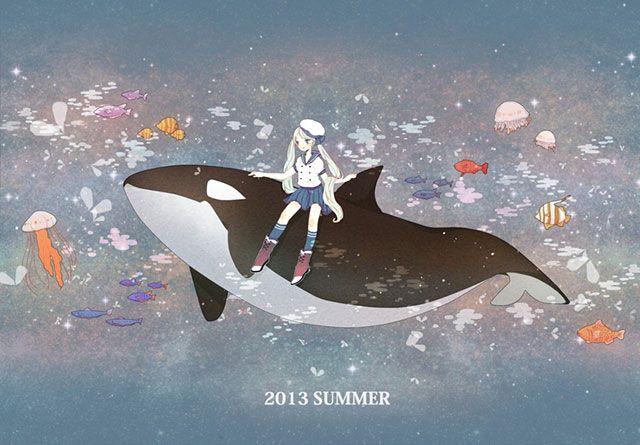 シャチに乗った海の中の初音ミクを描いた可愛いイラスト壁紙画像