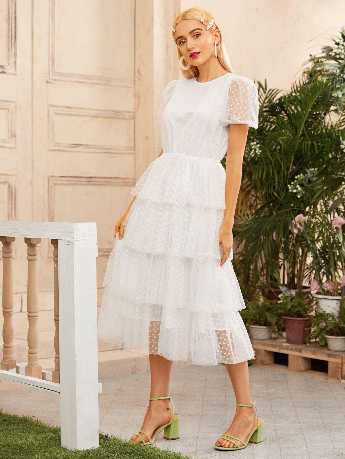 Kerry Layered Ruffle Cami Strap Dress White Fashion Pretty Dresses Little White Dresses [ 1100 x 733 Pixel ]