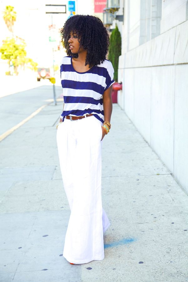 Striped Tee   Linen Palazzo Pants | Casual Fashion | Pinterest ...