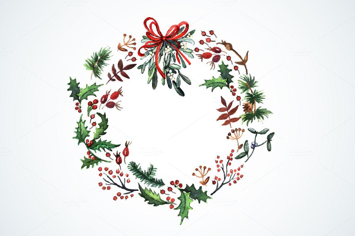 Watercolor Christmas Wreath Google Search Akvarel