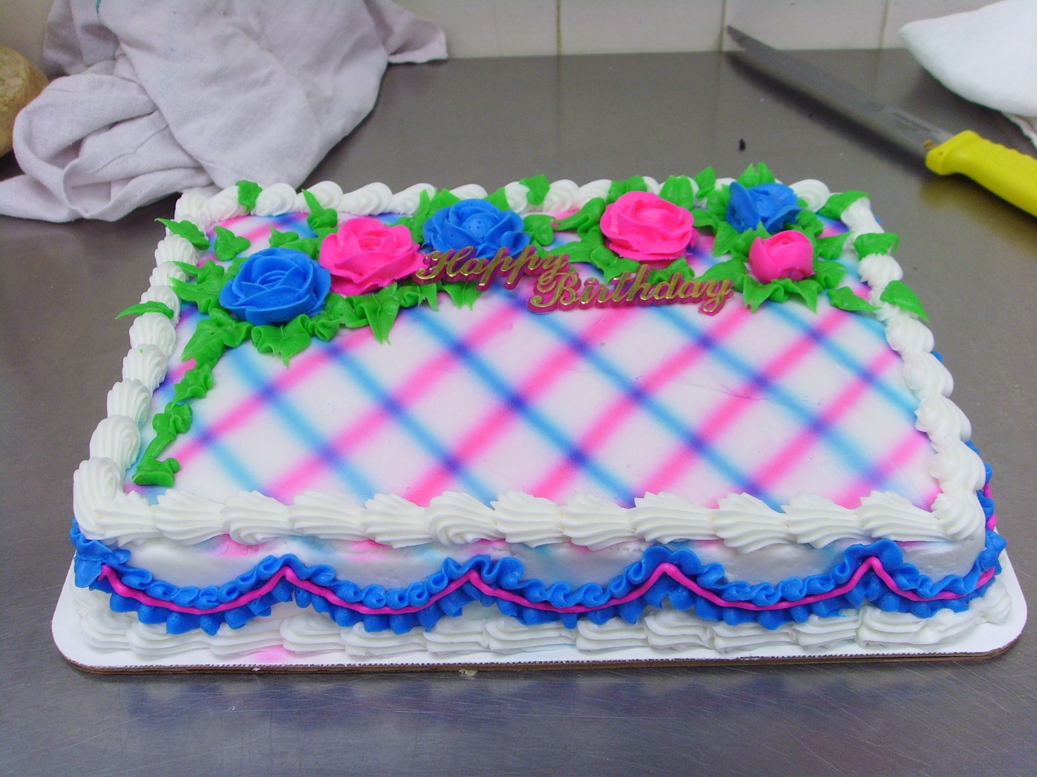 I Made This Cake Today It Is A Quarter Sheet Airbrushed With Hand Piped Roses