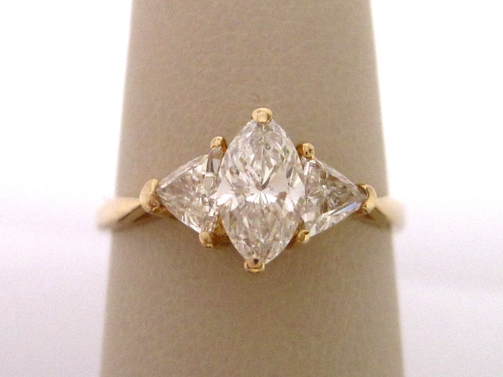 Marquise And Trillion Diamond Engagement Ring Engagement Rings Marquise Vintage Engagement Rings Trillion Diamonds