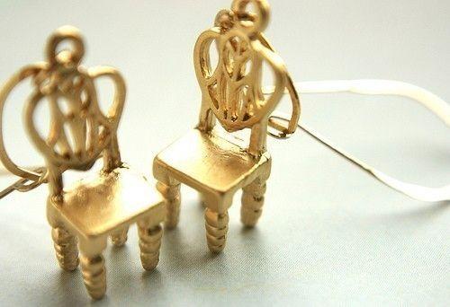 Gold Chair Drop Earrings Miniature Chair Dangle Earrings Etsy Etsy Earrings Dangle Gold Chair Gold Filled Earrings