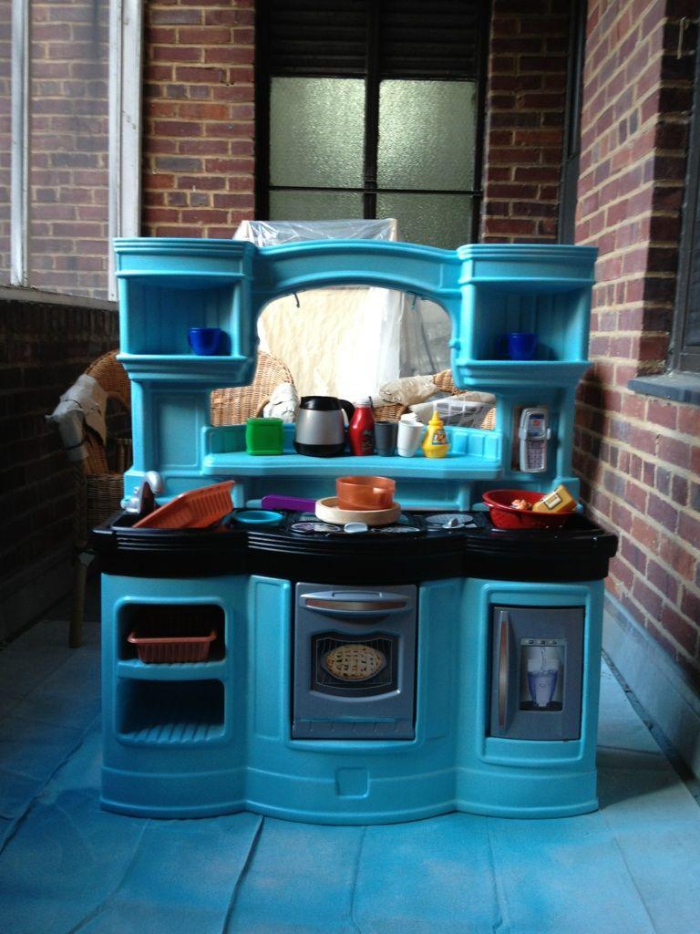 Play Kitchen Makeover Spray paint crafts, Toy kitchen