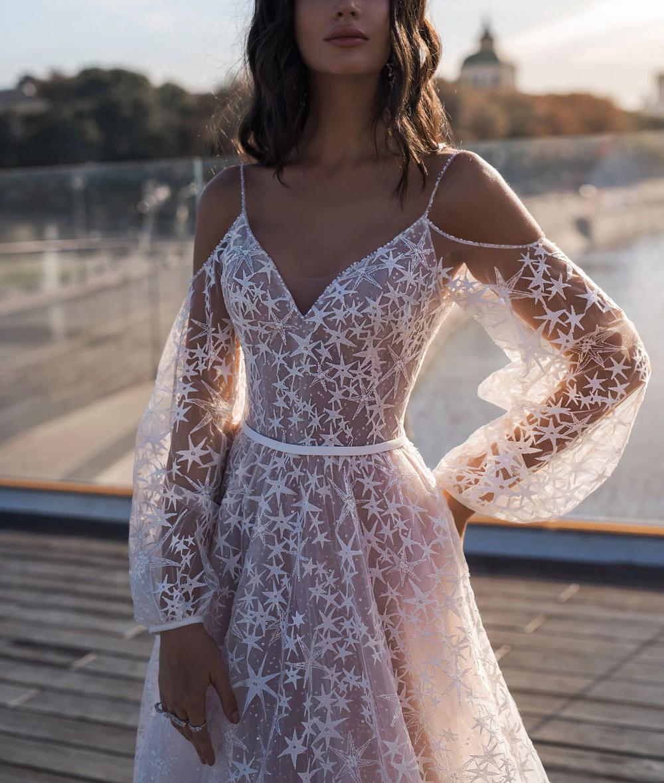 Elegant Star Appliques Chic Wedding Dress – Dress