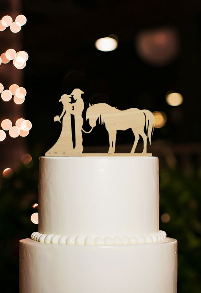 Cowboy Couple Silhouette Bride And Groom With Horse Wedding Cake Topper Wood Wedding Cake Toppers Groom Wedding Cakes Western Wedding Cakes