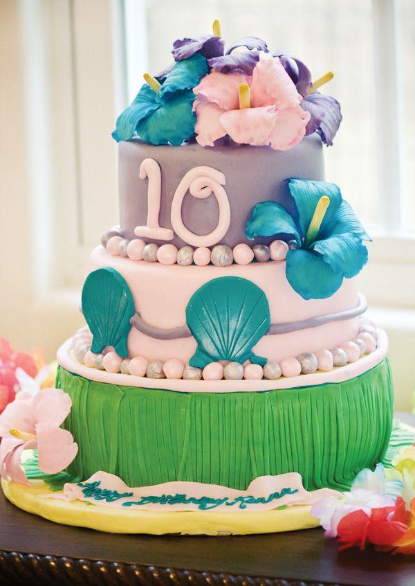 Pleasing Hawaiian Luau Inspired Birthday Party Hawaiian Party Cake Luau Funny Birthday Cards Online Alyptdamsfinfo