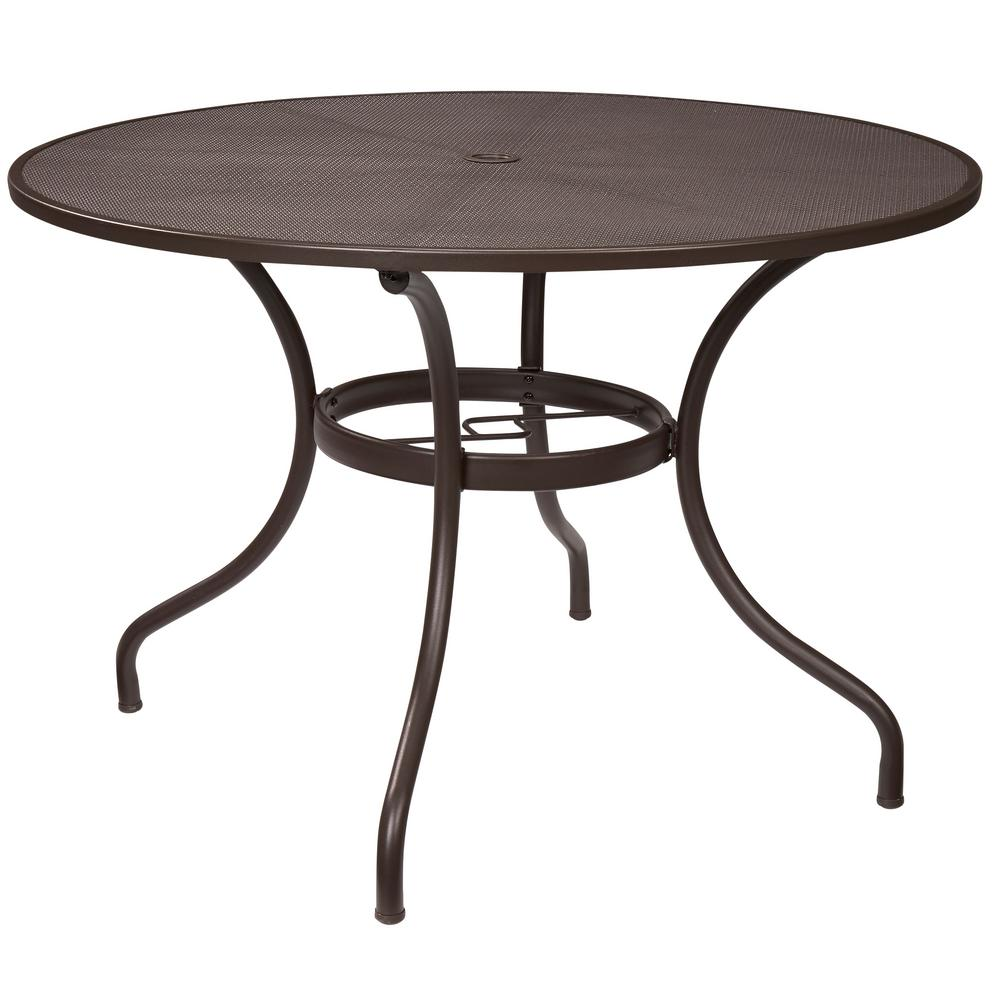 $99   Hampton Bay Mix And Match 42 In. Round Mesh Outdoor Patio Dining Table