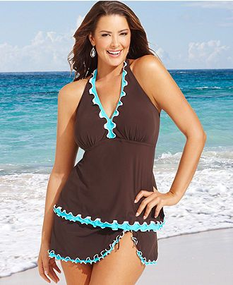 8c5fb2eb8f5 Profile by Gottex Plus Size Swimsuit, Halter Ruffle-Trim Tankini Top &  Ruffle Skirted Swim Bottom - Plus Size Sale & Clearance - Plus Sizes - Macys