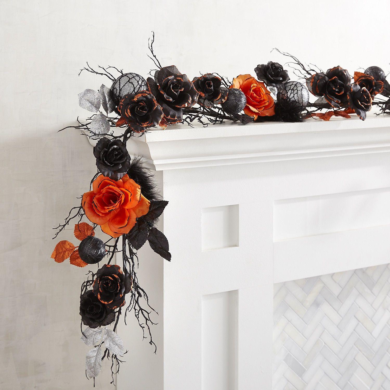 Black silver orange halloween garland seasonal for Halloween girlande