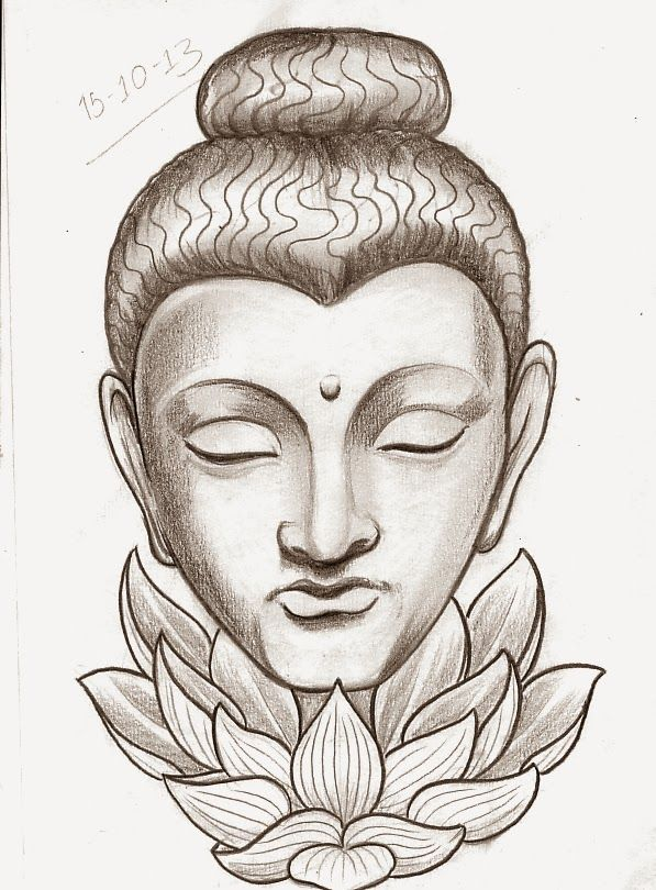 Incredible Buddha Head With Lotus Flower Tattoo Design Design
