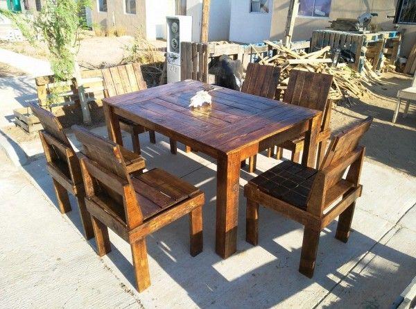 diy pallet outdoor dinning table. Repurosed Wooden Pallet Outdoor Dining Set Diy Dinning Table O