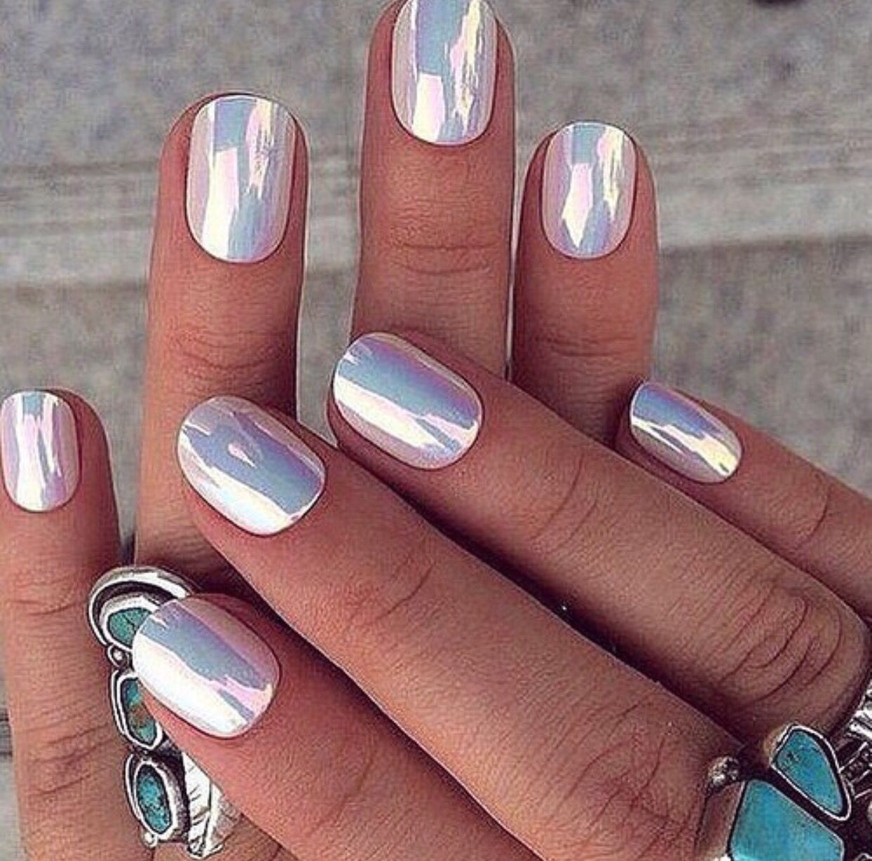 Opaque Metallic nails, Chrome nails designs, Holographic