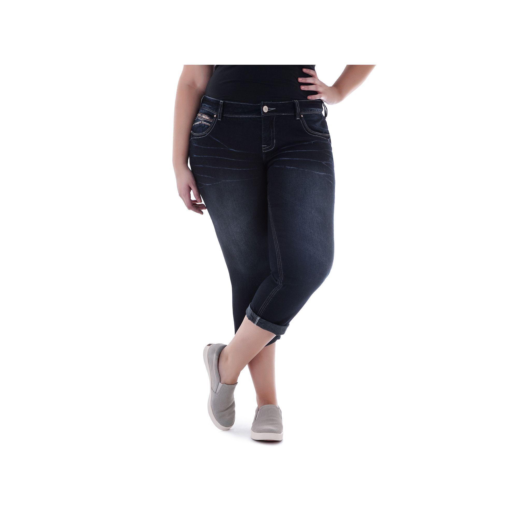 Juniors' Plus Size Amethyst Dark Wash Capri Jeans, Teens, Size: 14 W