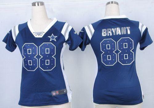 Cowboys 88 Dez Bryant Navy Blue Female Football Elite Inwrought Draft Him Shimmer Jersey