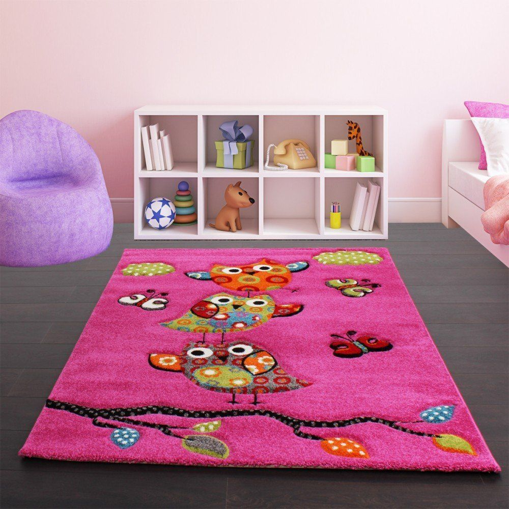 Kids Carpet Cute Owls Modern Children Rug In Pink Fuchsia Green Blue Size 80x150
