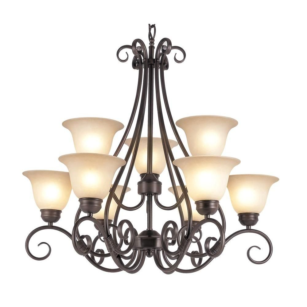 Bel Air Lighting Cabernet Collection 9 Light Oiled Bronze Chandelier With Tea Stained Shade
