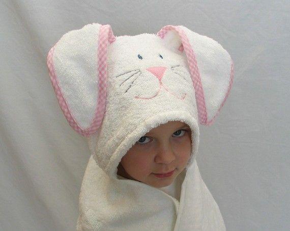 Bunny Rabbit Hooded Bath Towel Pink Gingham Trim Perfect Gift