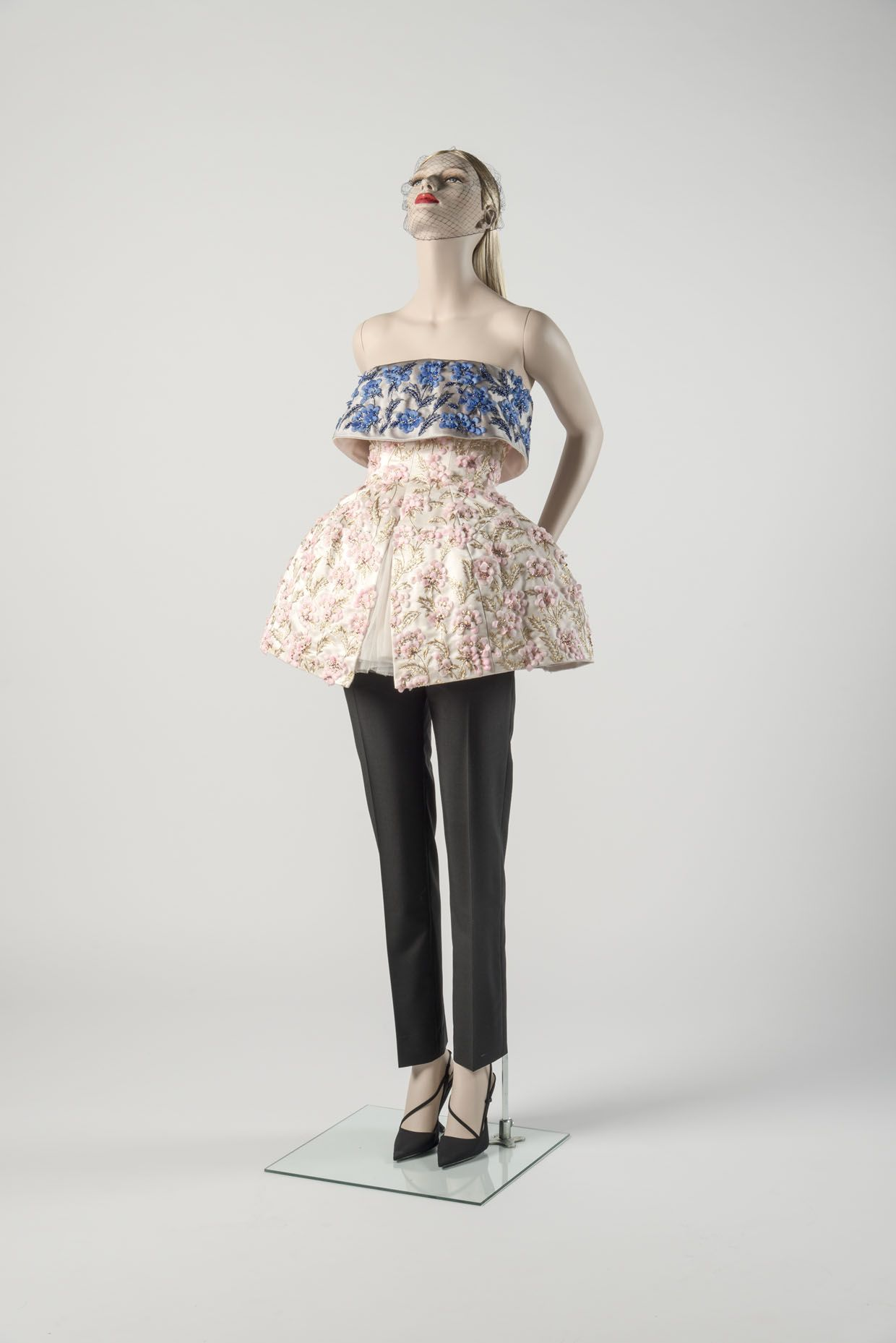 Pink and blue embroidered 'cut-off ballgown' with black trousers Raf Simons for the House of Dior, 2012 Chosen as Dress of the Year 2012 by Vanessa Friedman Fashion Museum Bath