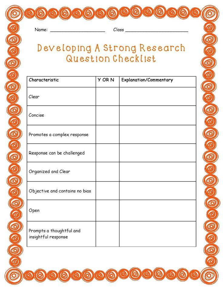 Free Research Question Checklist  Fifth Grade Finds
