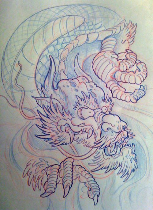 2456c32db Japanese Dragon Head Tattoo Flash 1000 images about japanese dragons ...