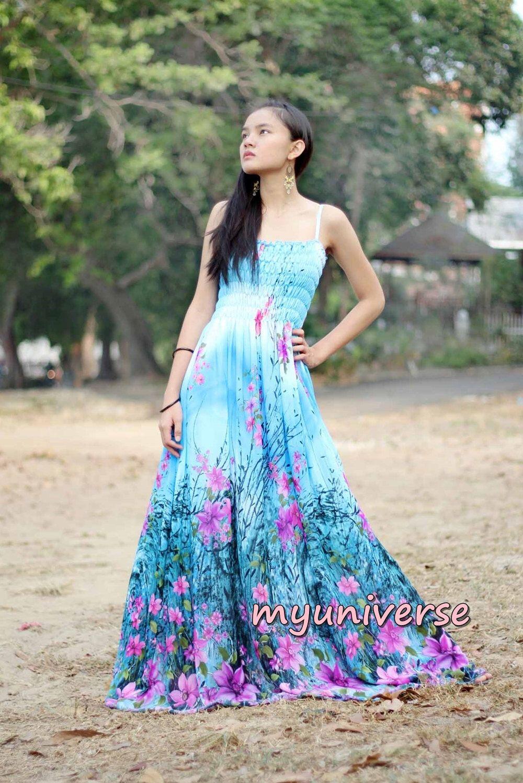 Blue Floral Maxi Dress Chiffon Sundress Women Dress Plus Size Cute ...