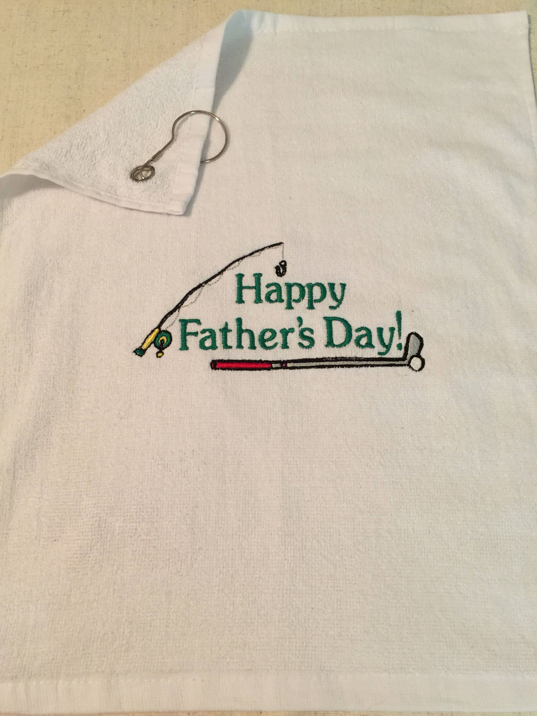 Custom Embroidered Happy Father's Day Towel with Grommet by