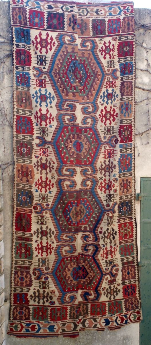Antique and rare 2 bands anatolian kilim. Very nice colors and design scale, complete. Just needs a bath to shine again...For a forum discussion on this special family of kilim: http://www.turkotek.com/misc_00110/kilim_frag.htm