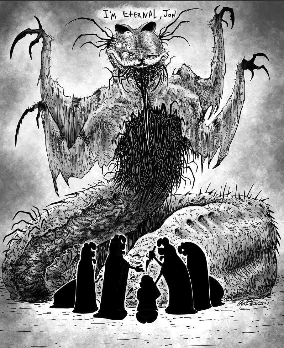 Creepy Garfield By Omega Black 3 Creepy Garfield Creepy Art Lovecraftian Horror Horror Art