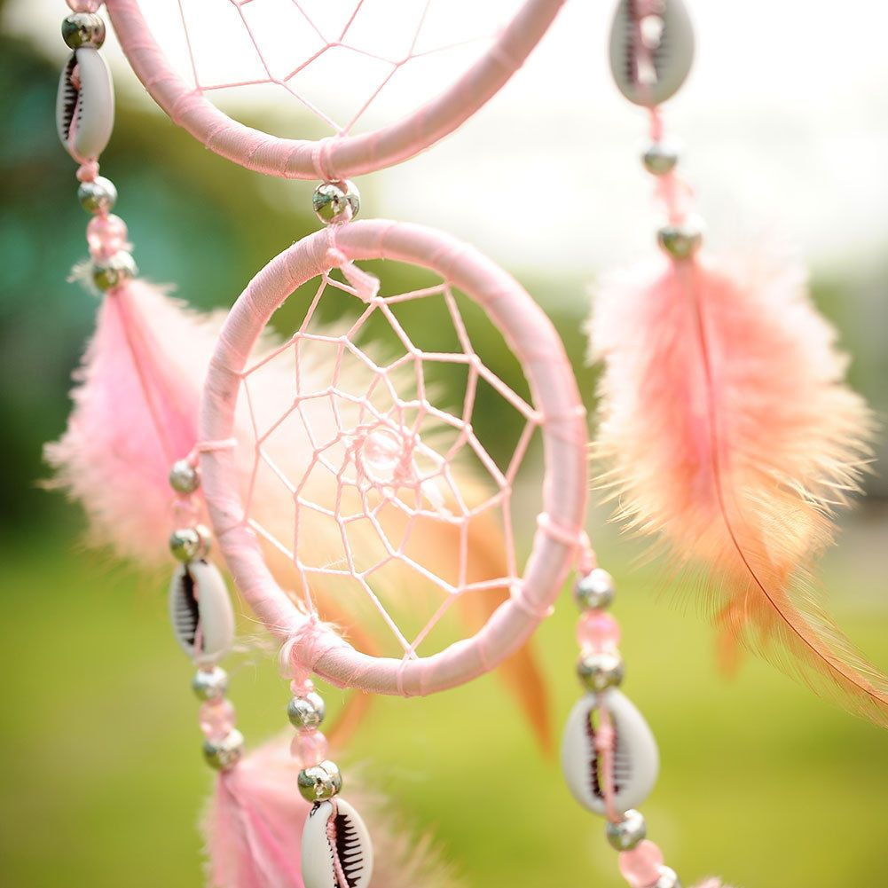 Handmade Pink Dream Catcher With feathers Wall Hanging Decoration ...