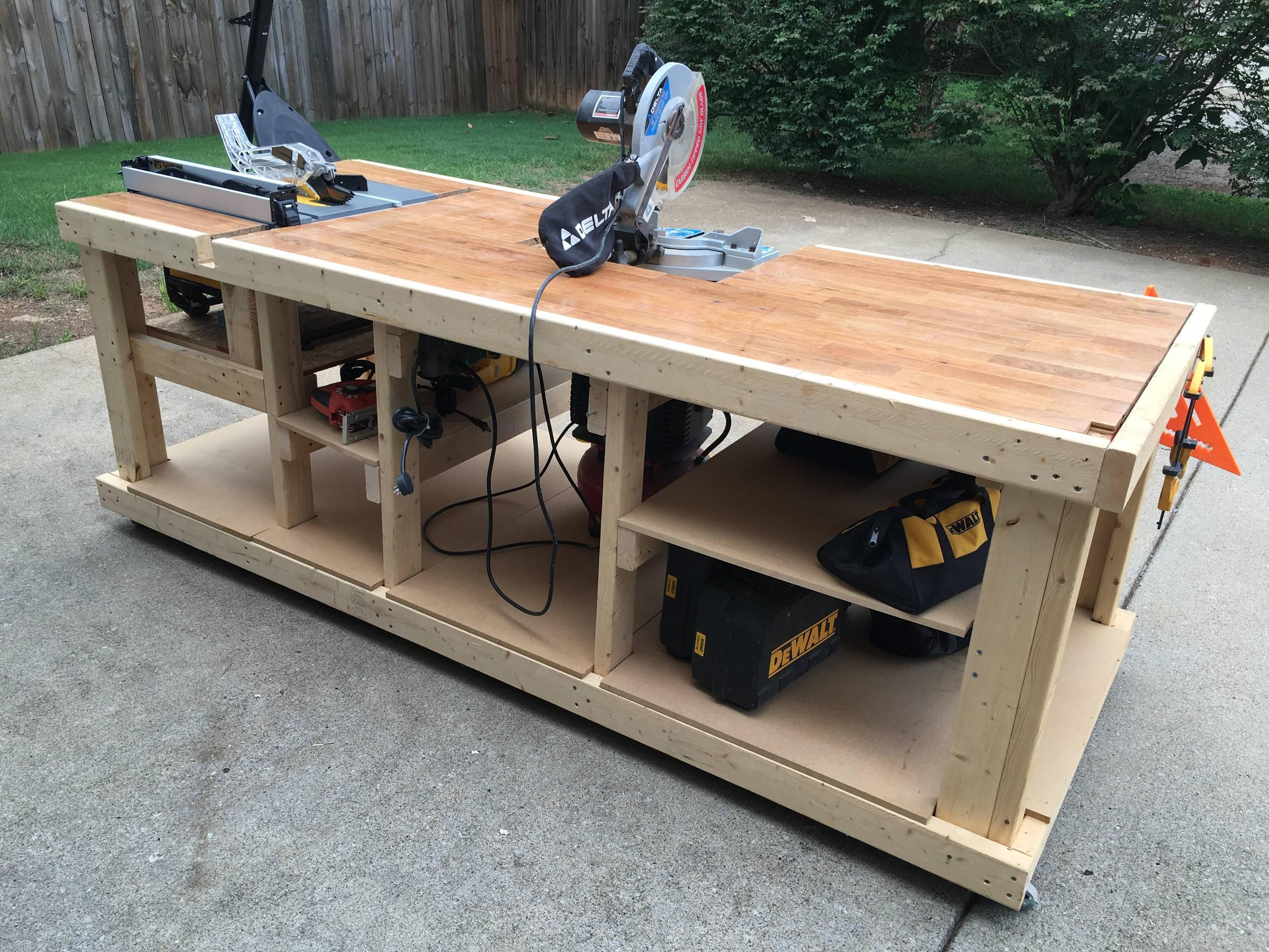 I Built A Mobile Workbench Imgur Workbenches Pinterest Mobile Workbench Woodworking And