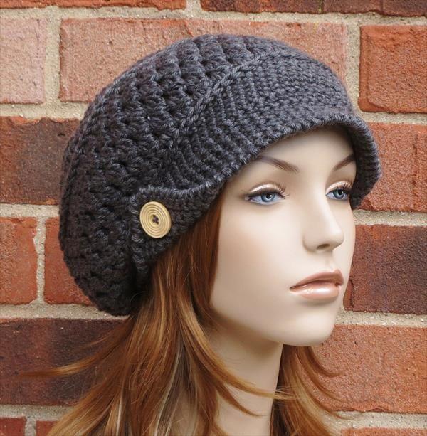 Crochet Slouchy Newsboy Hat Brimmed Beanie Diana Pinterest